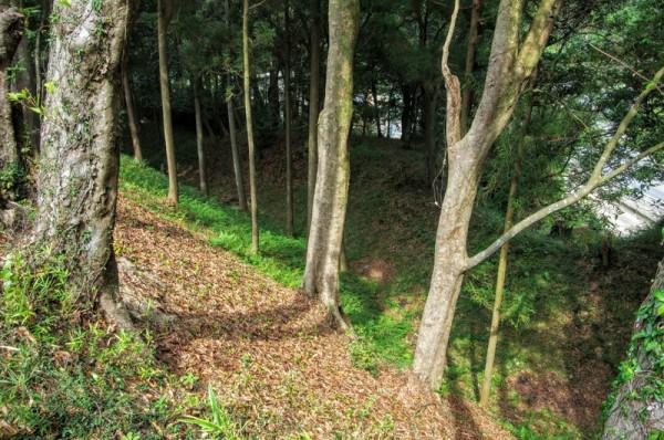 山中城全域を囲むように掘られた水のない空堀だった