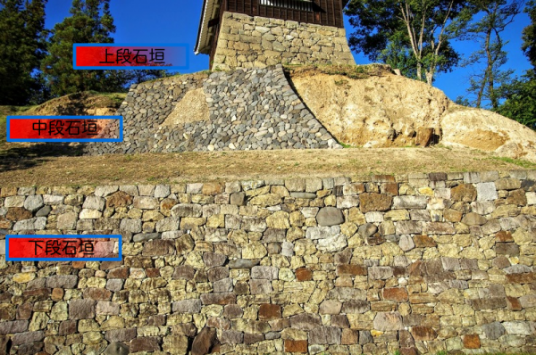 石垣が無かった部分はモルタルで修復しているらしい