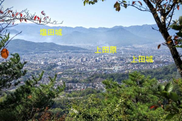 米山城からは塩田城、上田原、上田城が見えた