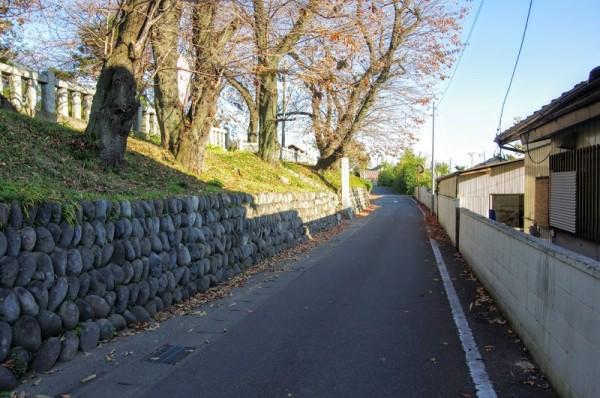 左手が境内で、ちょうど道路が空堀であったかのように見える