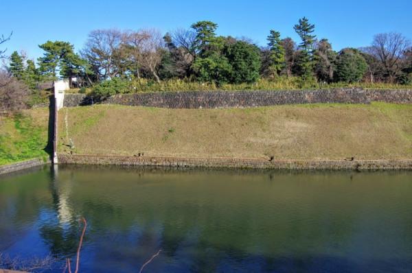 水濠の先は鉢巻石垣と関東ローム層の斜面と腰巻石垣を持つ高い土居