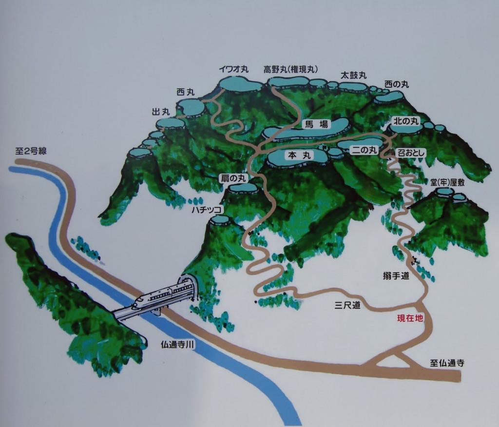 北側の登城口前に建っていた説明板に描かれていたもの(ということは、やはり北側が大手口か!?)