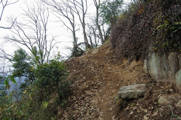 尾根近くなると周囲の風景が変わり、急崖のある山袖を通るようになった