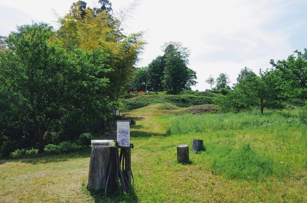 積善寺の墓地裏に広がる削平地で、この先には大手口跡がある (さらに、ここで城跡のパンフレットを入手できる)