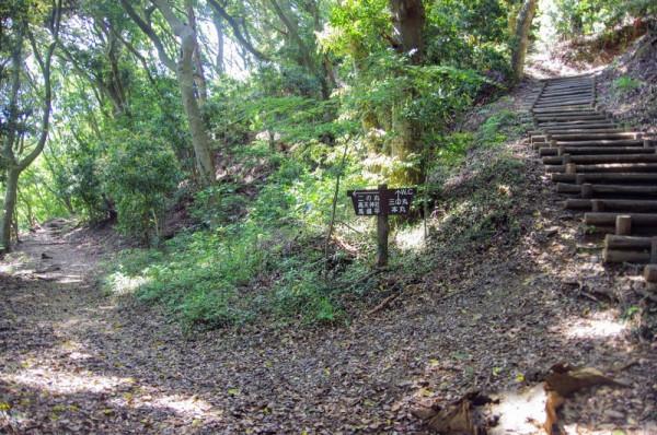 西の峰(左手)と東の峰(右手)への遊歩道の分岐点である
