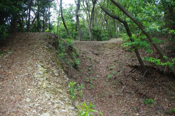 この辺りが横堀(空堀)の北限のようで、その先は急崖だった