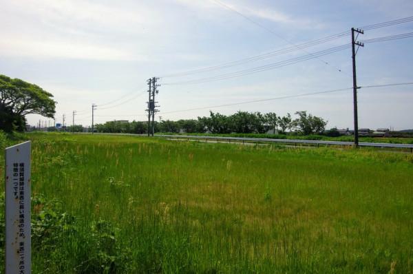 往時は城の西側(写真右手)から東側(同左手)へ外堀と仲土居道が走っていた