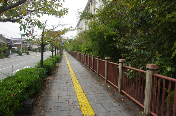 右手が柳川高校で、内堀を挟んで二ノ丸があったとされる
