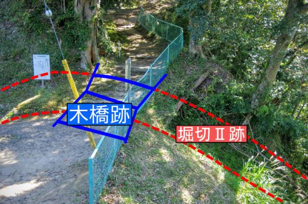 往時は木橋が架かっていた堀切