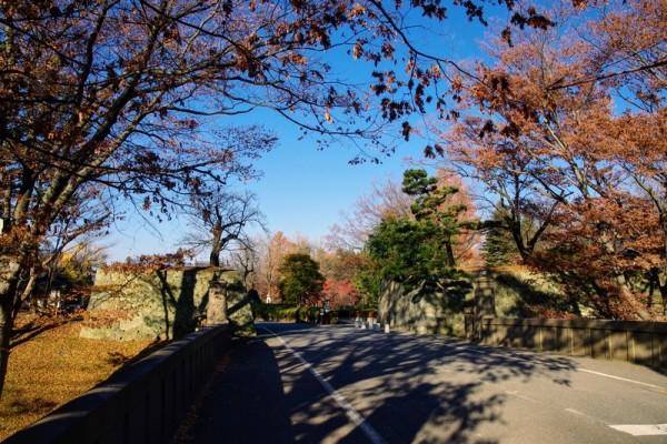 往時は二の丸堀に架かっていた土橋で、奥に見えるのが二の丸東虎口