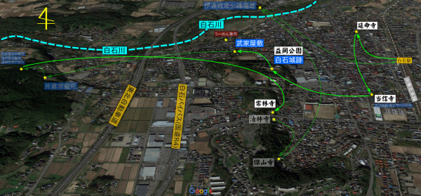 こちら(緑色の矢印)は午前中のルートで、主に白石城跡と城にゆかりのある寺院を巡ってきた