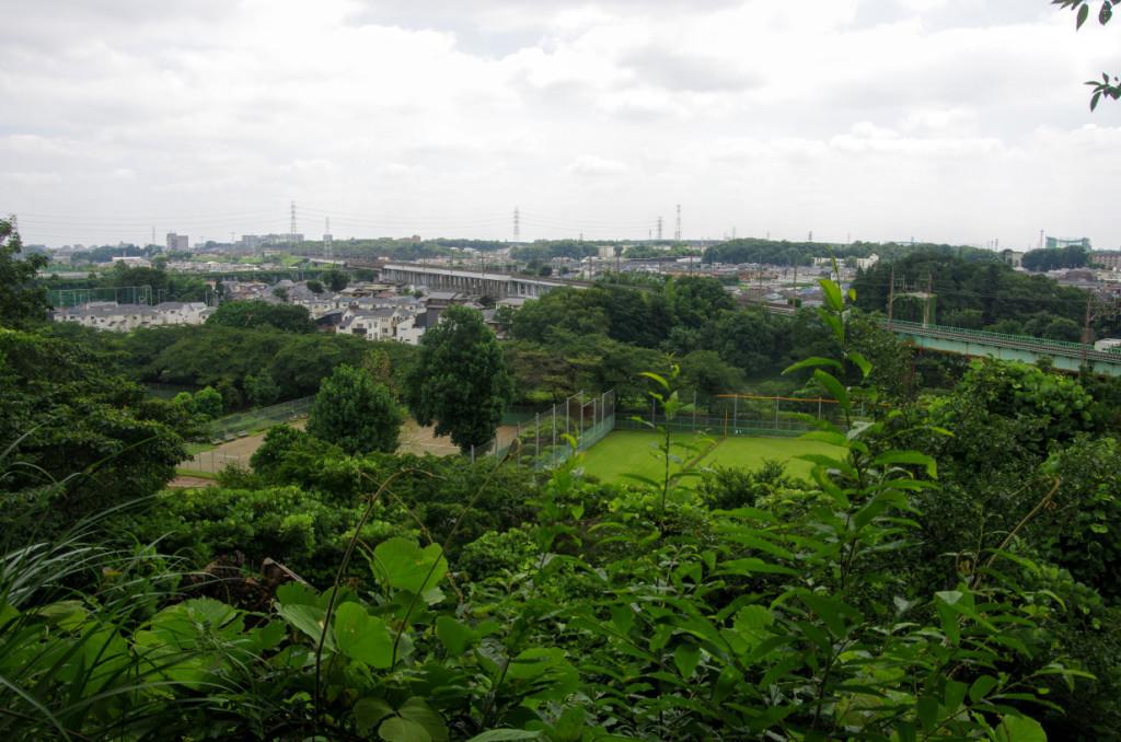眼下のテニスコートや野球場、そしてJR武蔵野線の間に柳瀬川が流れているが全く見えなかった