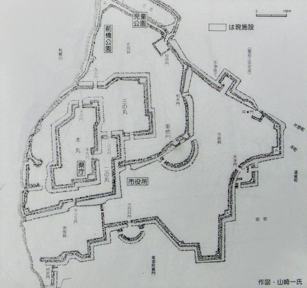 再築された前橋城縄張図上に現施設を記載したもの