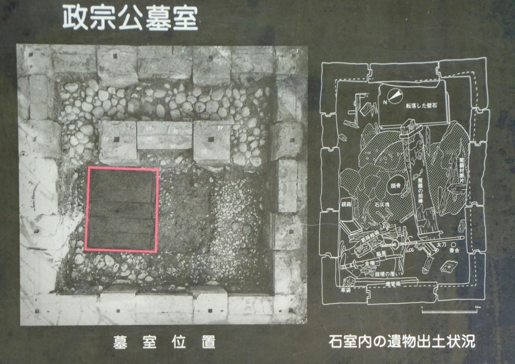 昭和49(1974)年の再建に先立って実施された学術調査では墓室から政宗公遺骸の他に副葬品が出土した