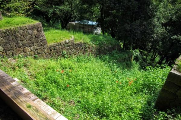 藪化しているが堀底には石段があったことが発掘調査で判明している