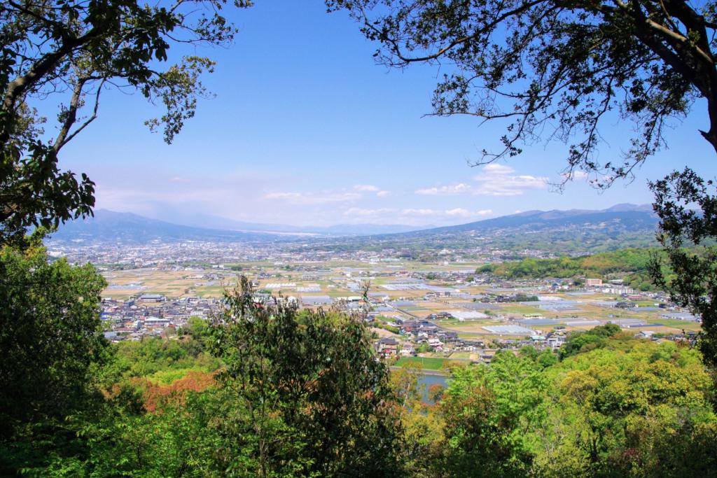 中央下に少しだけ本城の本丸跡が見え、藪を挟んで右手には城池、その右奥は山中城跡がある箱根(大涌谷)方面